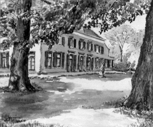 Aquarel van het huis Berkenrode aan de Herenweg Heemstede