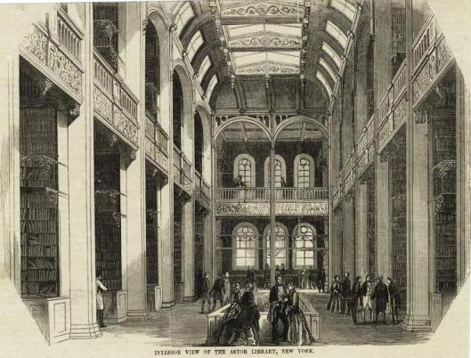 Interieur van de vroegere Astor bibliotheek in New York op een gravure uit 1854