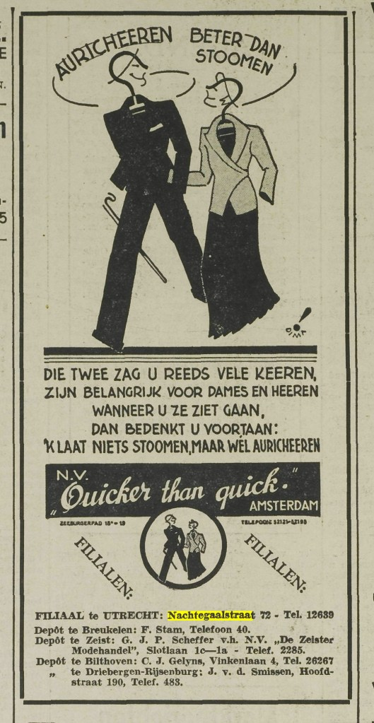 Advertentie uit Utrechtsch Nieuwsblad van 23 mewi 1936.  Auricheeren was het reinigen van kleren in een reeks gesloten machines, volgens een procedé van Aurich, dat volgens sommigen beter was dan stomen.