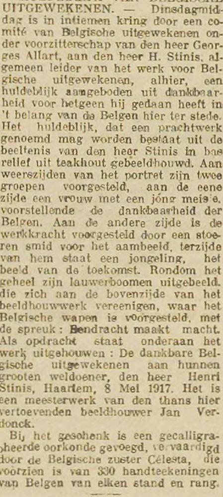 Huldeblijk H.Stinis. Uit: Haarlem's Dagblad 9-5-1917
