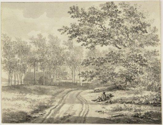 Tekening door Vincent Janszoon van der Vinne: de Herenweg tussen Hillegom en Bennebroek.