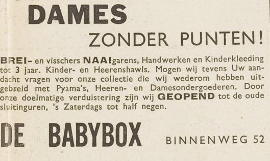 Advertentie van De Babybox, Binnenweg 52 Heemstede. Uit: Eerste Heemsteedsche Courant van 24-10-1940