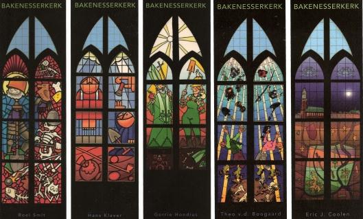 Bladwijzers vanNieuwe glas-in-loodramen voor de Bakenesserkerk in Haarlem, ontworpen door Roel Smit, Hans Klaver, Gerrie Hondius,