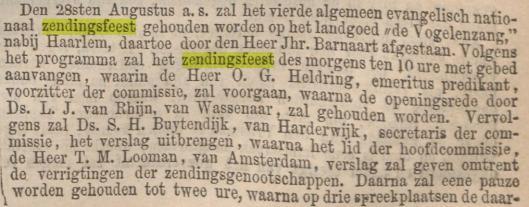 Zendingsbijeenkomst in 1867 op het terrein van jonKheer Barnaart in Vogelenzang (Algemeen Handelsblad, 29-7-1867)