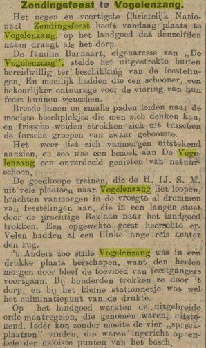 Zendingsfeest op de terreinen van Barnaart in Vogelenzang. Uit: Algemeen Handelsblad, 3 juli 1912 (1)