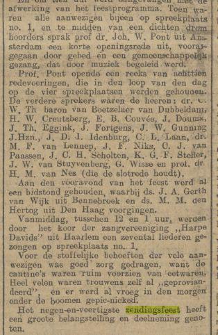 Vervolg van bericht over het christelijk nationaal zendingsfeest in Vogelenzang, uit: Algemeen Handelsblad van 3 juli 1912.
