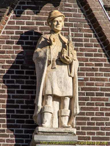 Beeld van Sint Bavo boven de toegang naar de H.Bavokerk in Heemstede. Vervaardigd door zuster Marie-José van der Lee (1912-2012). Het nieuwe beeld met kerk in de hand kwam in de plaats van het Bavobeeld met zwaard waaraan als gevolg van verwering een eind kwam. (foto Van der Krogt)