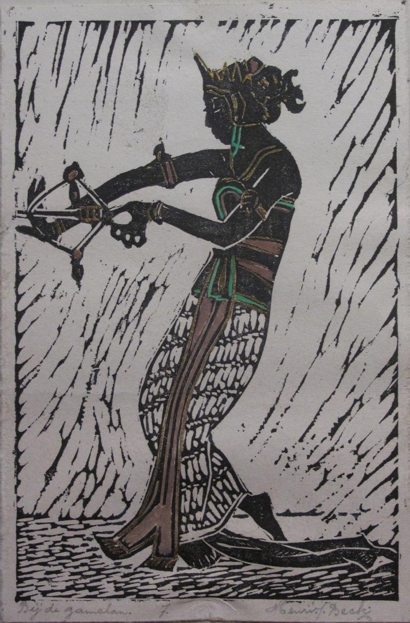 Bij de gamelan. Linoleumsnede Henri J.Beck
