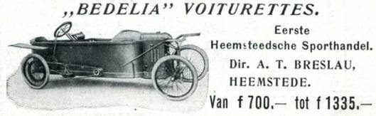 Advertentie van 'Bedelia' voiturettes uit 1913