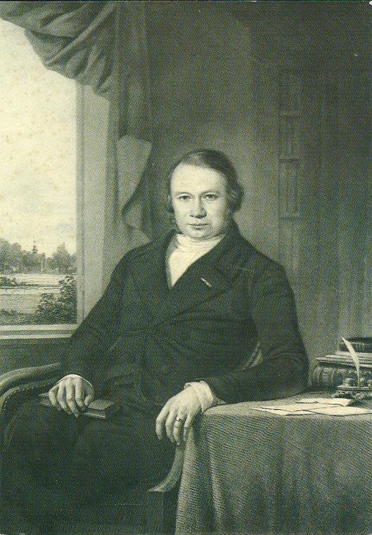 Nicolaas Beets in zijn werkkamer van (later afgebroken) pastorie met zich op de kerk. Beets was predikant, zich noemende 'herder' in Heemstede van 1840 tot 1854