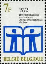 Postzegeluitgave van België in het kader van het Internationaal Jaar van het boek, 1972. Het logo is een ontwerp van Michel Olyff (geb. in 1927).