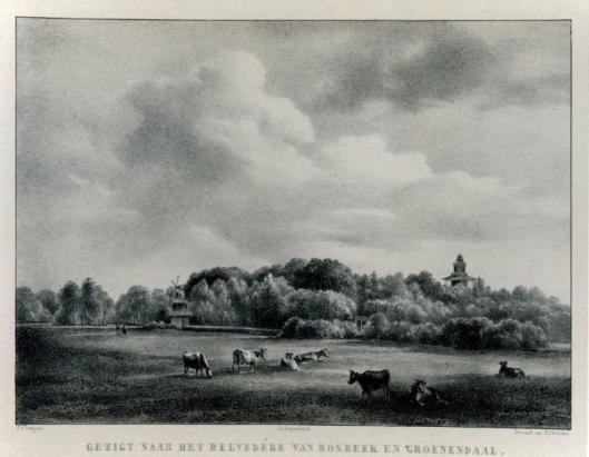 Bosbeek-Groenendaal met een gezicht op het molentje en de belvédère. (P.J.Lutgers)