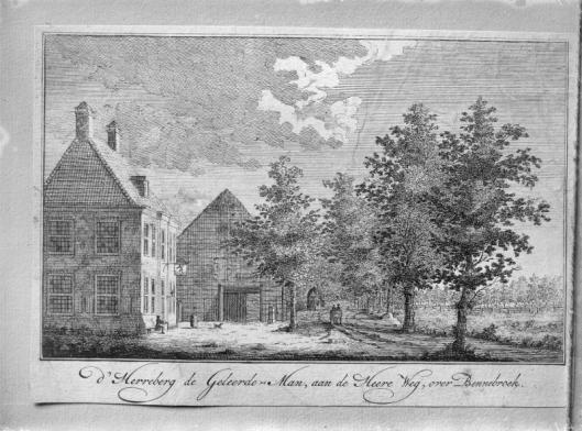 Herberg De Geleerde Man aan de Herenweg in Bennebroek op een anonieme gravure uit circa 1750 met o.a. uithangbord, een gast en koetshuis.