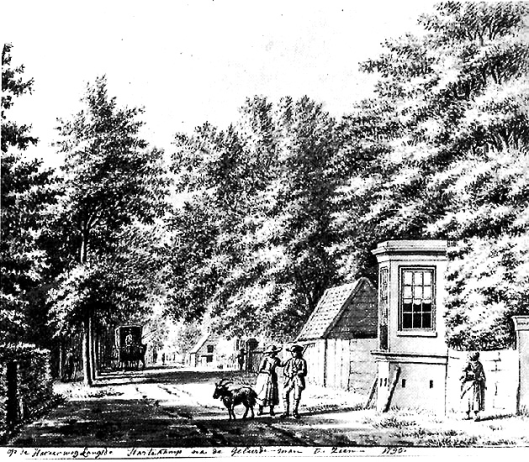De Hartekamp met theekoepel aan de Herenweg op de grens van Heemstede en Bennebroek met grenspaal. Tekening uit 1795