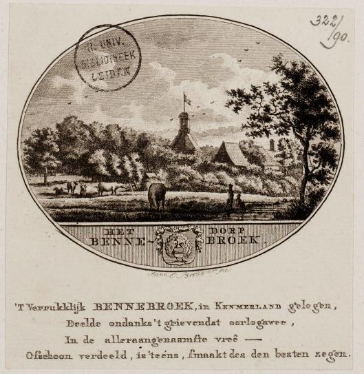 Gravure van Hervormde Kerk Bennebroek door Anna Catharina Brouwer (UB-Leiden)
