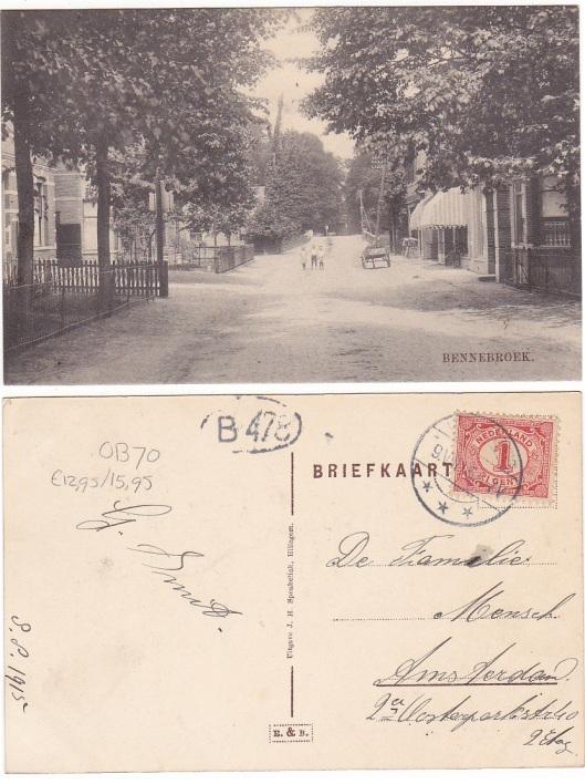 Prentbriefkaart Bennebroek uit 1915