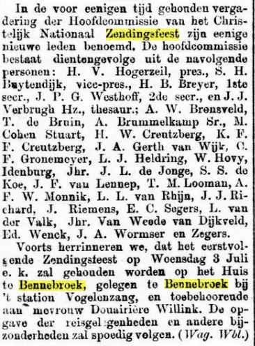 Bericht over te houden zendingsfeest te Bennebroek in 1878 (Uit: De Standaard, 1 april 1878)