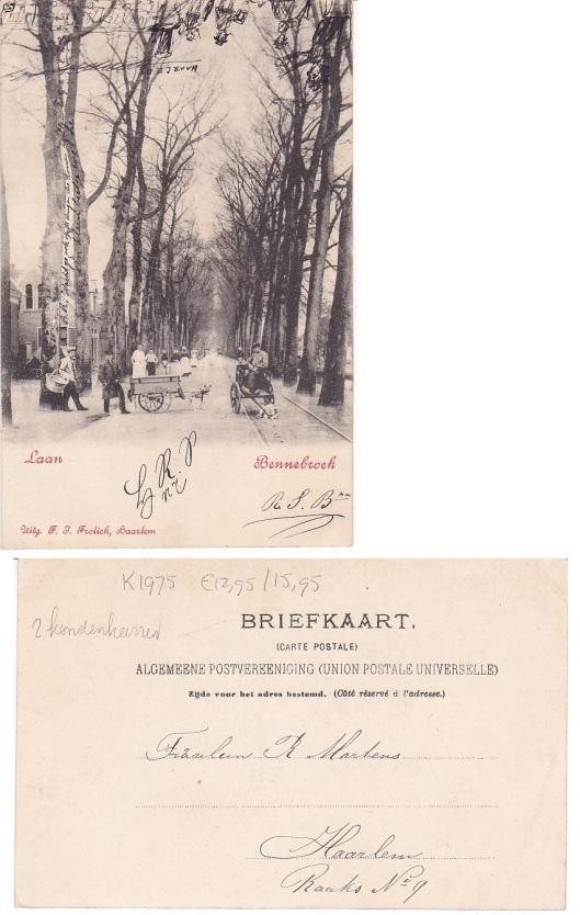 Oude ansichtkaart van Bennebroekerlaan met 2 hondenkarren