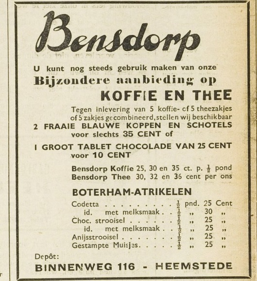 Advertentie van Bensdorp, Binnenweg 116, uit: Eerste Heemsteedsche Courant van 15 februari 1940.