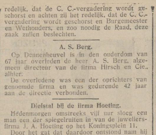 Bericht van het overlijden van A.S.Berg uit De Tijd van 16 juni 1924