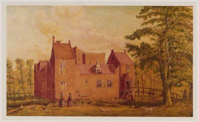 Naschildering door A.A.v.d.Berg naar een tekening van het kasteel Berkenrode door P.Saenredam uit 1628