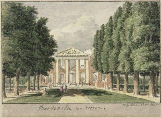 Huize Berkenrode na de brand. Tekening door Hendrik Spilman (1721-1784).