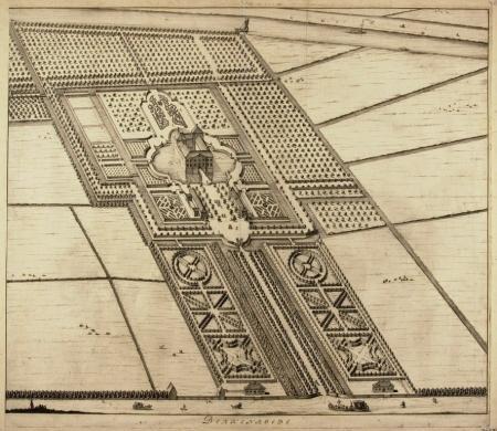 Niet helemaal uitgevoerde geometrische tuinaanleg van Berkenrode, als gravure vermoedelijk omstreeks 1712 vervaardigd door D.Stopendaal. Vooraan de Herenweg, helemaal boven de Leidsevaart