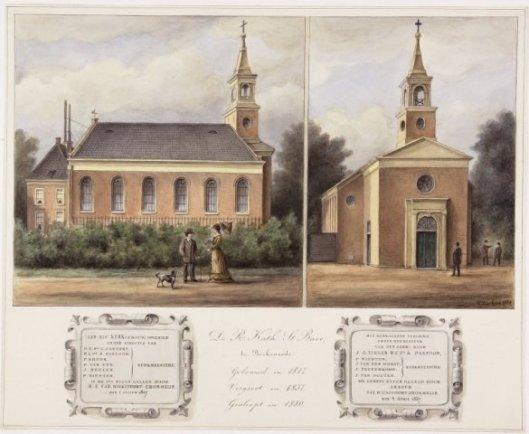 De r.k.kerk H.Bavo te Berkenrode; gebouwd in 1817, vergroot in 1837 en gesloopt in 1880 (NHA)