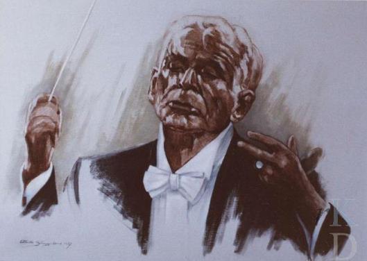 Portret van componist Leonard Benstein door Aleid Slingerland, 1987