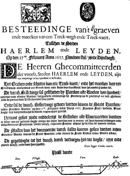 Aanbesteding voor het graven van de Leidse/Haarlemmer-trekvaart 27 februari 1657