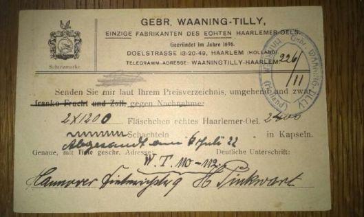Bestelkaart Haarlemmerolie uit 1922