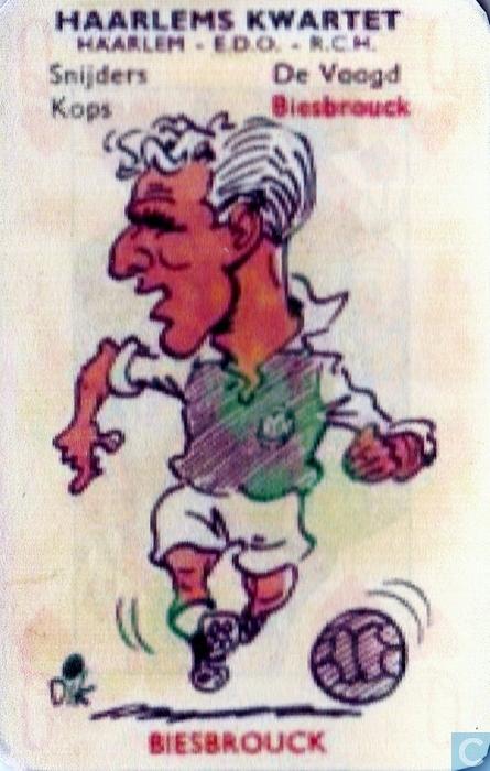 Echte RCH'er was Louk Biesbroeck (1921-2005), die tussen 1950 en 1954 19 x in het Nederlands elftal speelde. Kwartetplaatje door Dik Bruynestein uit 1958.