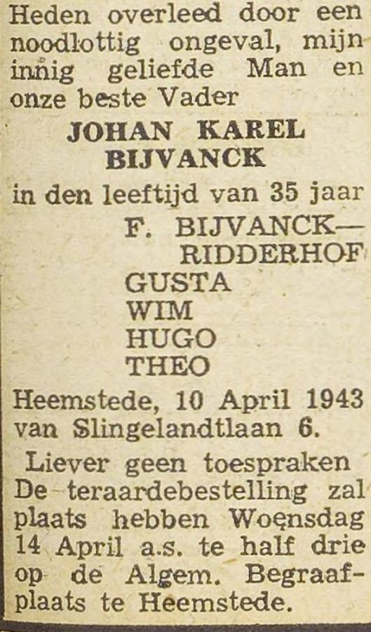 Rouwadvertentie Johan Karel (Hans) Bijvanck, uit de Haarlemsche Courant van 12 april 1943