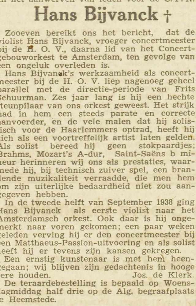 Overlijdensbericht J.K.Bijvanck uit de Haarlemsche Courant van 12 april 1943.