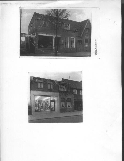 Het door architect Oud ontworpen pand voor G.S.van Bakel in het begin en na een renovatie
