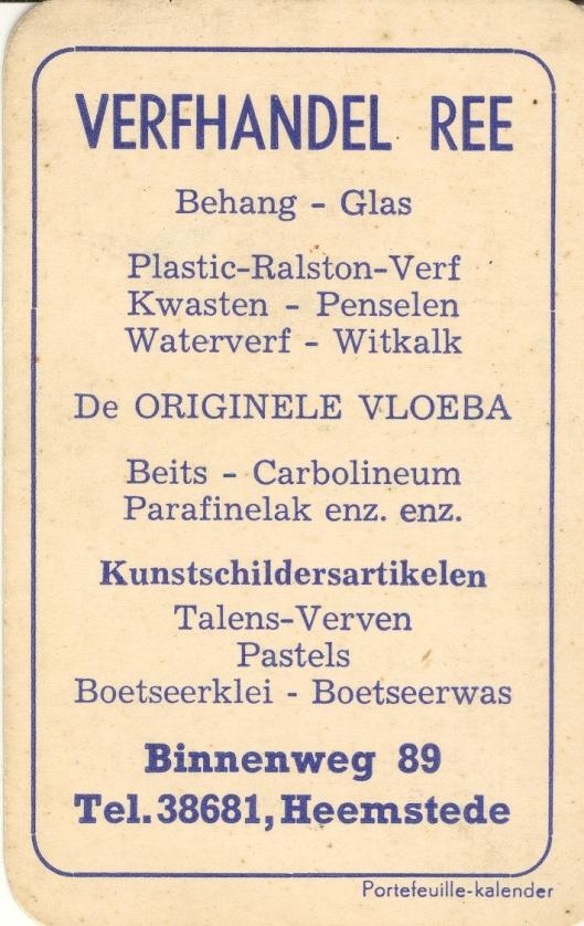 Reclamekaartje verfhandel Ree uit 1952