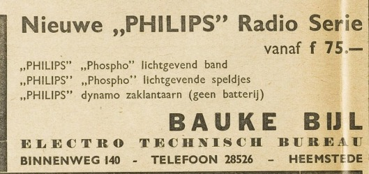 Bauke Bijl, electrotechnisch bureau, Binnenweg 140 (EHC, 3-10-1940)
