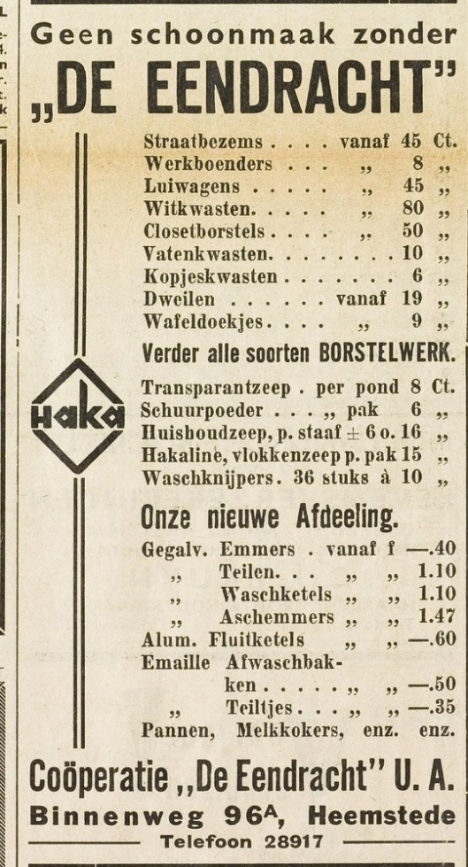 Adv. Coöperatie 'de Eendracht', Binnenweg 96a. (Haarlem's Dagblad)