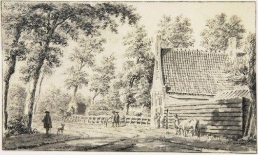 De Binnenweg in noordelijke richting, richting Crayenest, getekend door Hendrik Spilman (1724-1784) (NHA)