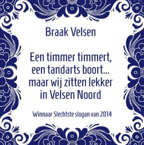 Blauwe tegel 2014 toegekend aan de firma Braak in Velsen (bron: Slechtste Slogan van 2014)