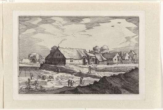 Bleekvelden in de duinen rond Haarlem. Ets door Claes Janszoon Visscher (1612-1652)