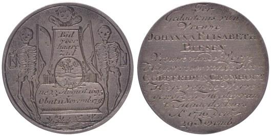 voor- en keerzijde van zilveren penning 'ter gedagtenis' van Johanna Elisabeth Blesen, 1719. Zij was de moeder van Johanna Elisabeth Blesen (1695-1738) die in 1718 van de vorige eigenares (weduwe Barchman Wuytiers) het huis Herengracht 436 in Amsterdam en hofstede 't Klooster erfde. Zij was getrouwd met Godefriedus Franciscus Cromhout (ov. 1764), heer van de Werve en Ankeveen. Elisabeth Blesen volgde in 1718 haar moeder op als regentes van het Maagdenhuis