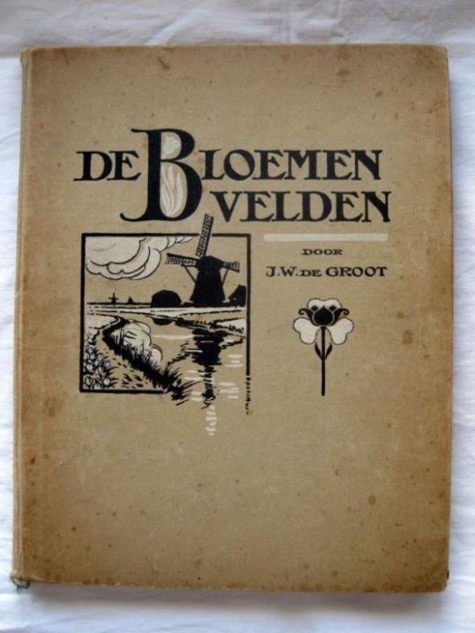 Plaatjesalbum 'de Bloembollenvelden' door J.W.de Groot. Uitgave van zeepfabriek 'Het Klaverblad', Haarlem