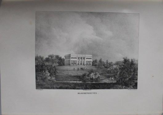 Buitenverblijft Bloemenheuvel gesticht door jonkheer O.W.Berg van Dussen, afgebouw door J.D.Zocher, bewoond door de weduwe Planteau (Lutgers, circa 1840)