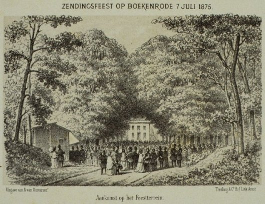 Zendingsfeest 187 op Boekenrode in Aerdenhout. Aankomst op het feestterrein. litho A.van Oosterzee. Uitg. litho door Treslong & Hof, Amsterdam