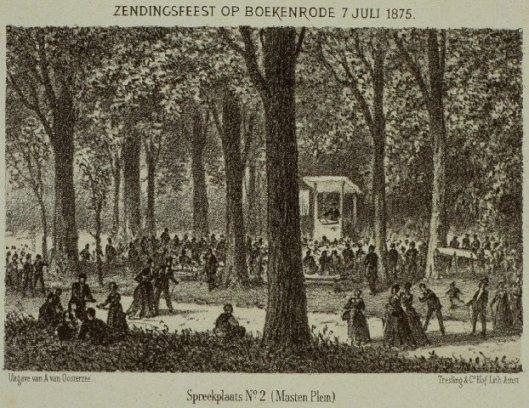 Steendruk zendingsbijeenkomst Boekenrode, 1875. Spreekplaats 2 (Masten Plein)
