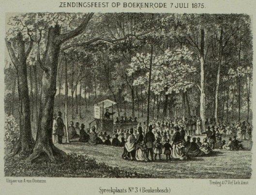 litho van zendingsbijeenkomst Boekenrode, Aerdenhout 1875. Spreekplaats 3 (Beuken Bosch)