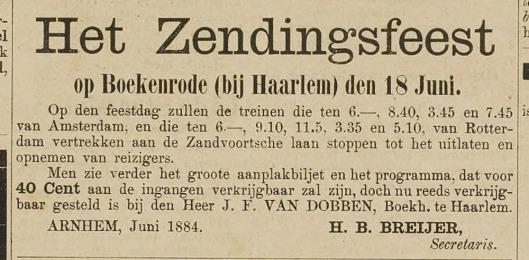 Aankondiging zendingsfeest op Boekenrode in 1884 (Haarlem's Dagblad, 18 juni 1884)