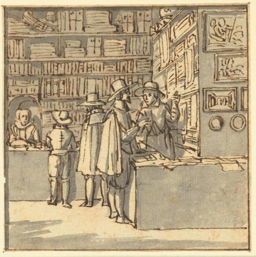 Tekening van boekwinkel Pieter Meijer Warners aan de Vijgendam, Amsterdam