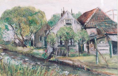 Boerderij Van der Weiden aan de Zandvaart (schilderij in Historisch Museum Deventer)